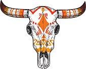 Hand drawn vector illustration - skull of animal. Vintage