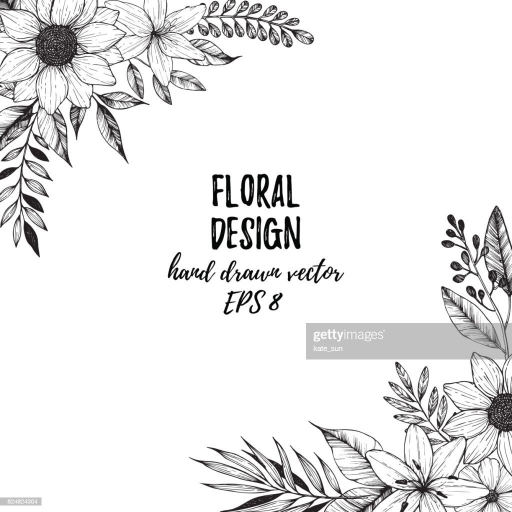 Hand drawn vector illustration - Square frame with flowers and leaves. Floral bouquet. Perfect for invitations, greeting cards, tattoo, textiles, prints, posters etc