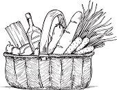 Hand drawn vector illustration - Supermarket shopping basket