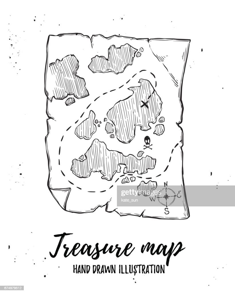 Hand drawn vector illustration - Treasure map. Design elements in sketch style. Perfect for brochures, flyers, posters, cards, prints
