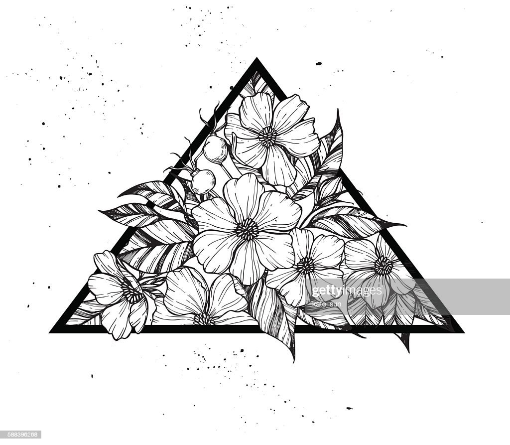 Hand drawn vector illustration - triangle with flowers
