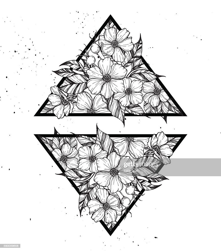 Hand drawn vector illustration - triangles with flowers