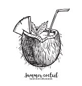 Hand drawn vector illustration - tropical coconut coctail. Summer time. Perfect for invitations, greeting cards, blogs, posters and more.