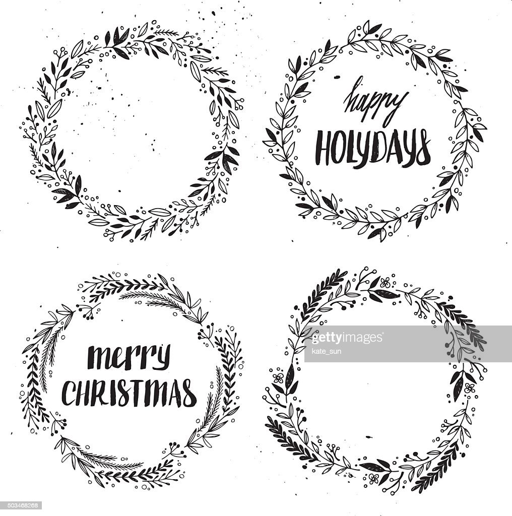 Hand drawn vector illustration. Vintage decorative kit of wreath