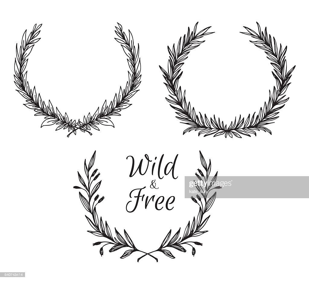 Hand drawn vector illustration. Vintage decorative laurel wreath