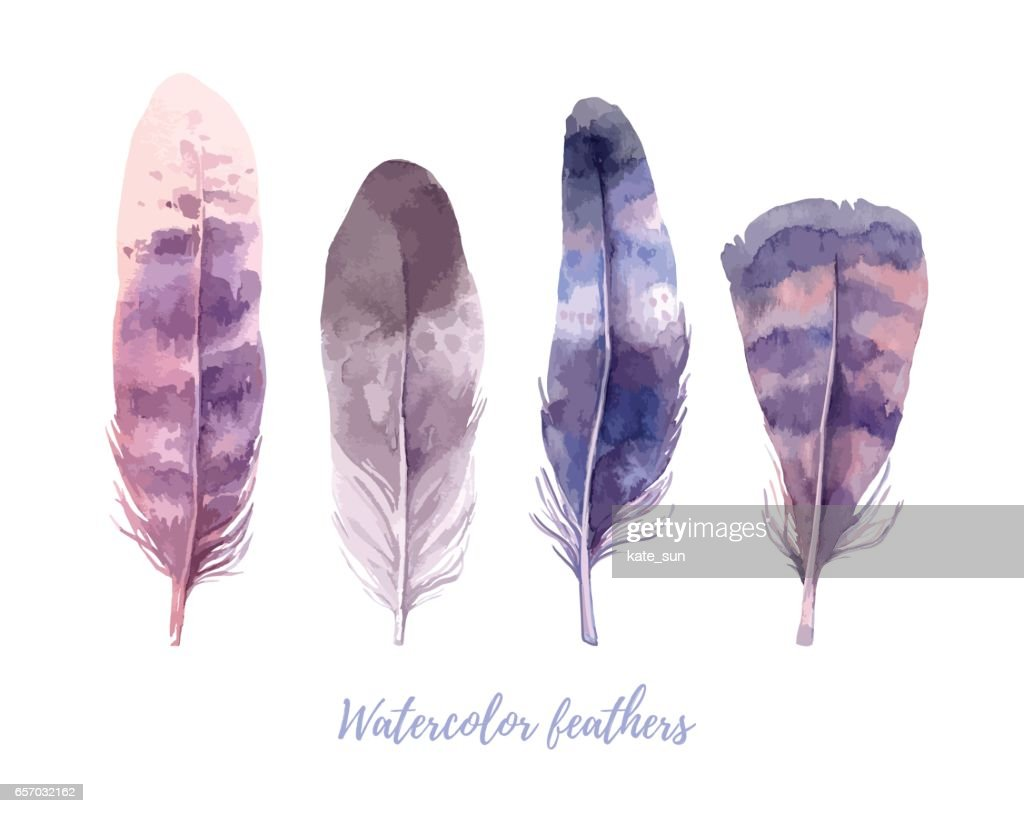 Hand drawn vector illustration - Watercolor feathers collection. Aquarelle boho set. Isolated on white background. Perfect for invitations, greeting cards, posters, prints