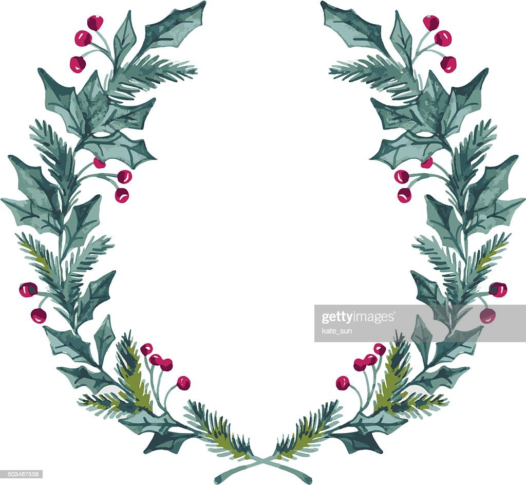 Hand drawn vector illustration - watercolor wreath. Christmas Wreath