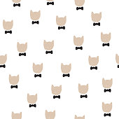 Hand drawn vector illustration with cute cats head in bow tie. Seamless cartoon pattern.