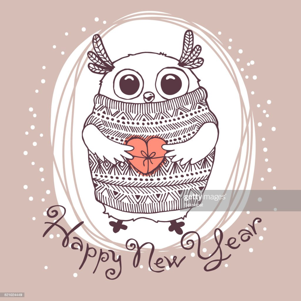 Hand drawn vector illustration with cute eagle owl. Happy New
