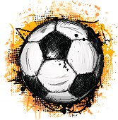 Hand drawn vector illustration with soccer ball and grunge