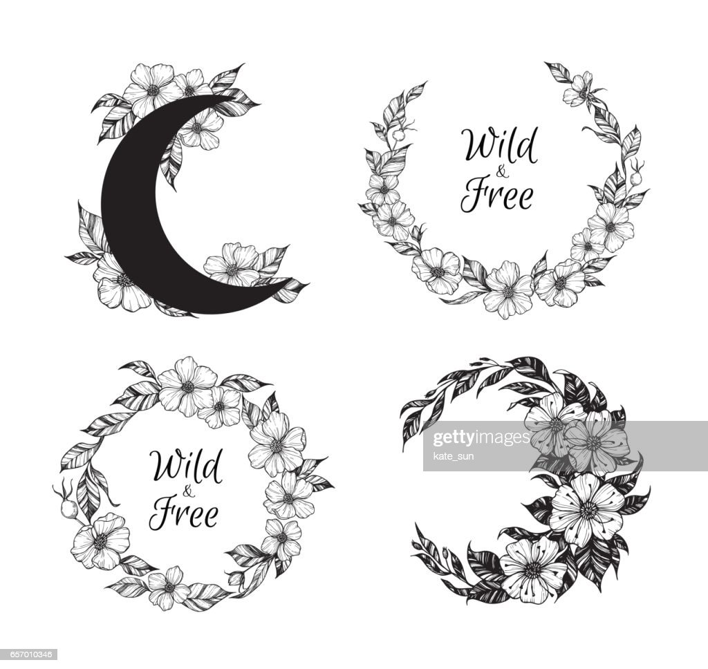 Hand drawn vector illustration - wreaths and moon with flowers and leaves. Perfect for invitations, greeting cards, quotes, tattoo, textiles, blogs, posters etc. Floral frames