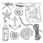Hand drawn vector illustrations - collection of seashells and  marine elements (treasure map, message in a bottle, rope, anchor). Perfect for invitations, greeting cards, posters, prints, banners, flyers etc