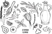 Hand drawn vector illustrations - Ingredients of pizza. Olive oil, olives, shrimps, tomato, basil, rosemary, pepper etc. Perfect for menu, cards, blogs, banners. Illustration in sketch style