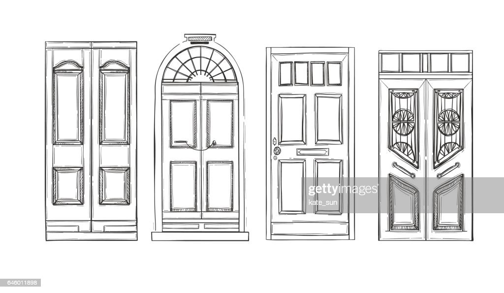 Hand drawn vector illustrations - old vintage doors. Isolated on white background.