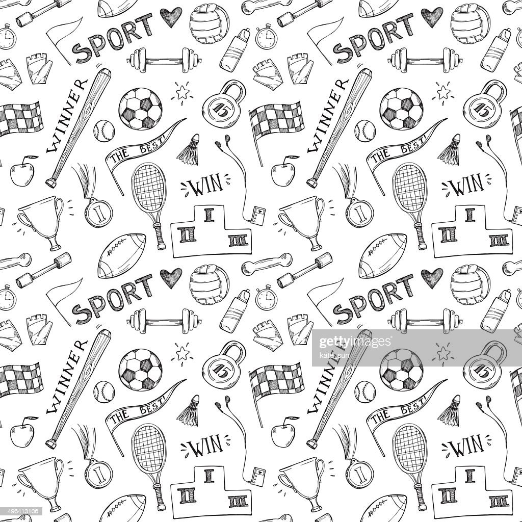 Hand drawn vector illustrations. Sport and fitness pattern