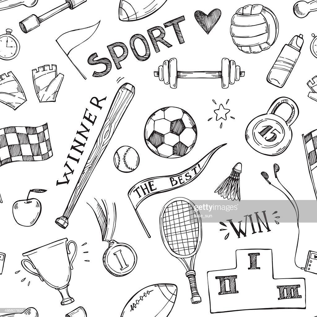 Hand drawn vector illustrations. Sport and fitness seamless pattern