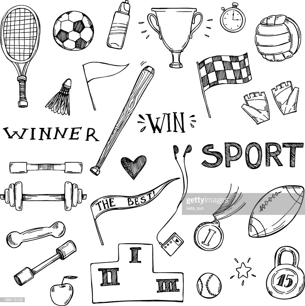 Hand drawn vector illustrations. Sport and fitness set. Sketch icons