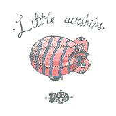 Hand drawn vector little airchip with strips. Little zeppelin fo