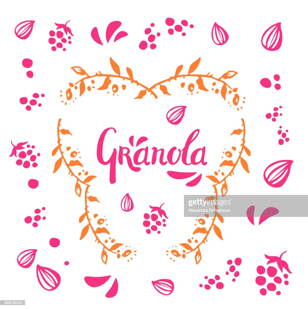 Hand drawn vector love couple with short girl and tall boy on pink background in white circle frame of twigs