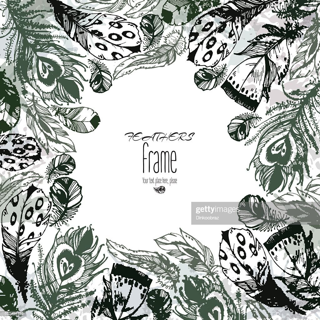 Hand drawn vector painted frame with bird feathers monochrome