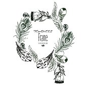 Hand drawn vector painted frame with bird feathers