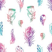 Hand drawn vector painted seamless pattern with bird feathers is