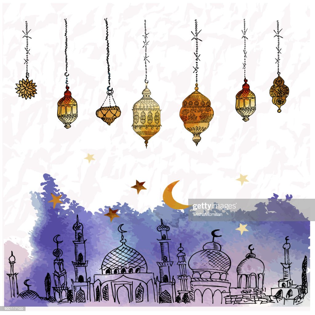 Hand Drawn Vector Ramadan Background. Colorful Seamless Pattern. Islamic Holiday. Lanterns, stars, crescent, arabian style. Watercolor texture.