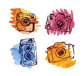 Hand drawn vector retrocamera. Take a good shot!