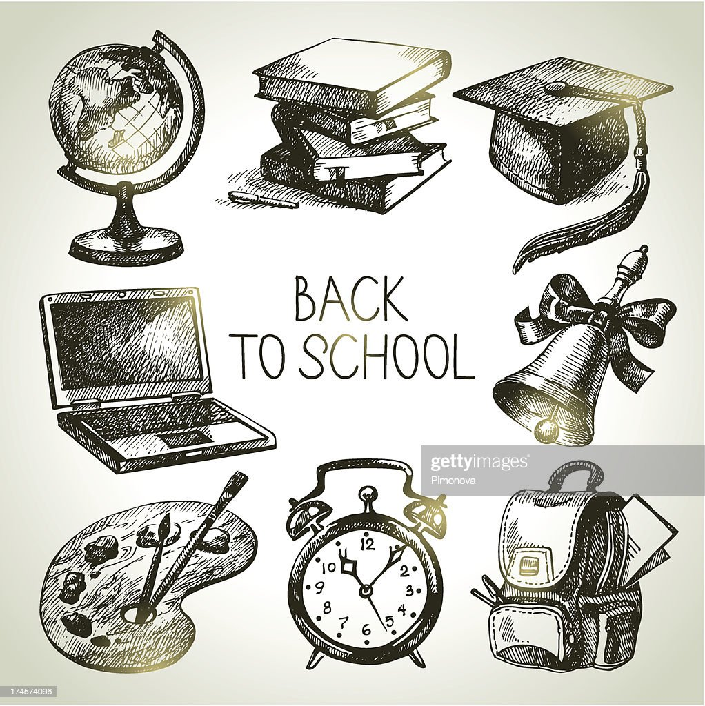 Hand drawn vector school object