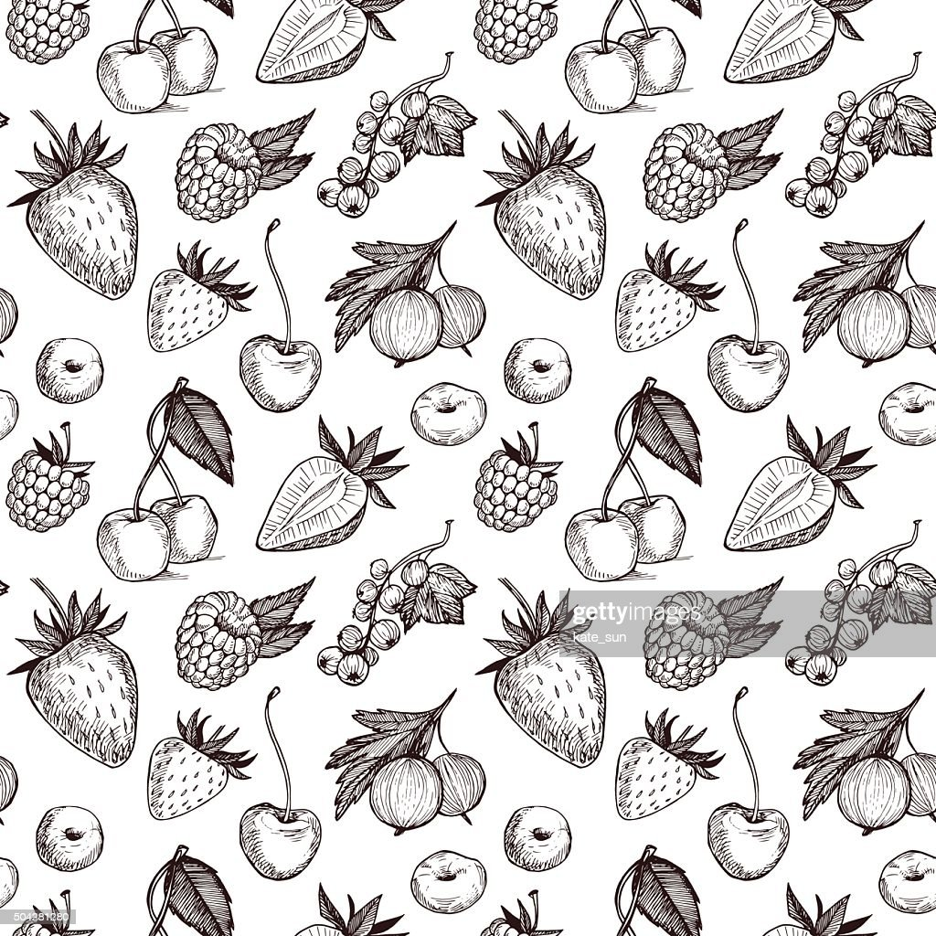 Hand drawn vector seamless pattern - Collection of berries