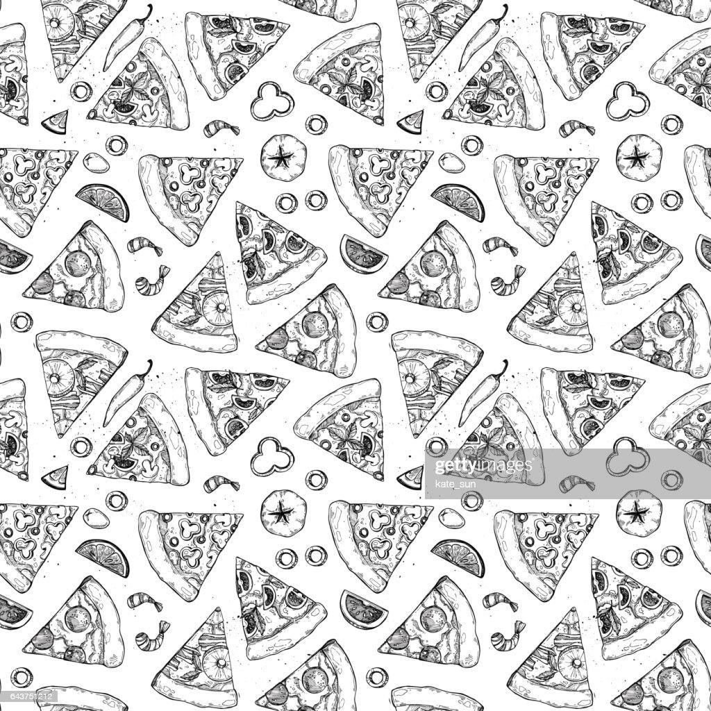 Hand drawn vector seamless pattern - pizza. Types of pizza: Pepperoni, Margherita, Hawaiian, Mushroom. Sketch style