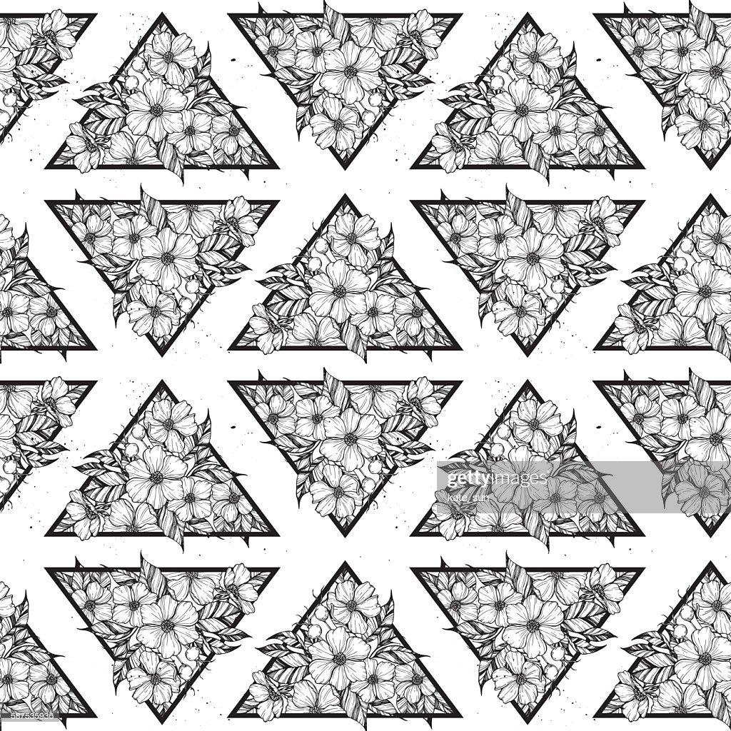 Hand drawn vector seamless pattern - triangles with flowers