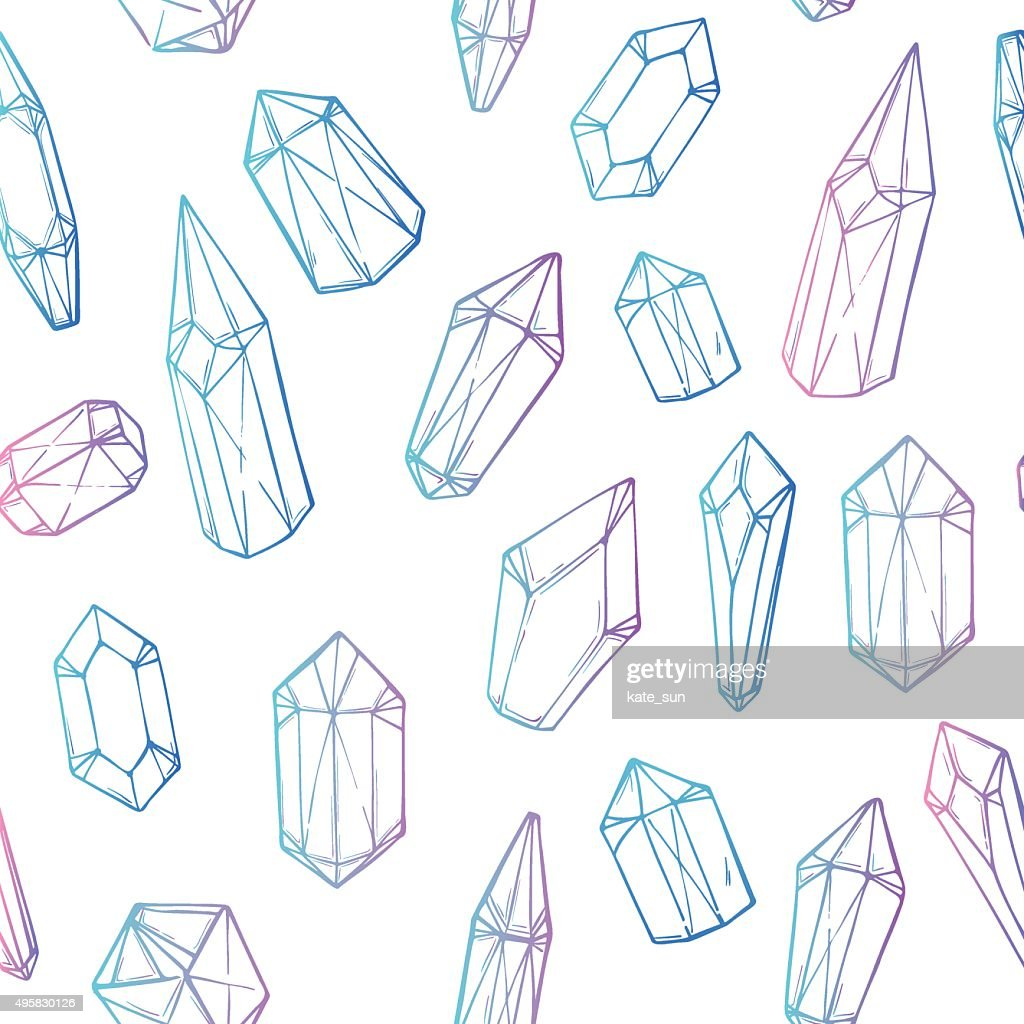 Hand drawn vector. Seamless pattern with geometric crystals