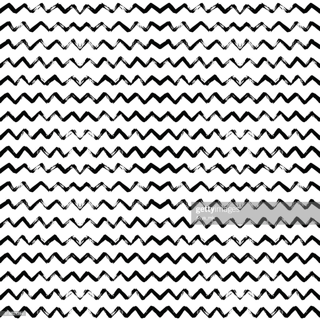 Hand drawn vector seamless pattern with zigzag stripes.