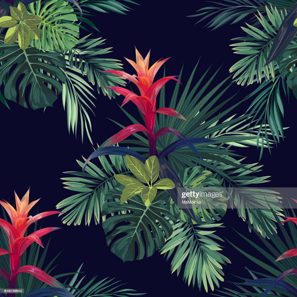 Hand drawn vector seamless tropical floral pattern with guzmania flowers, monstera and royal palm leaves. Exotic hawaiian fabric design