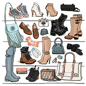 Hand drawn vector sketch of shoes, boots, bags, gloves, mittens, bracelets.