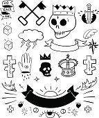 Hand drawn vector tattoo set