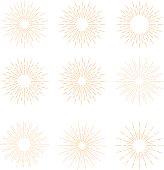 Hand Drawn vector vintage elements - gold sunburst (bursting) rays