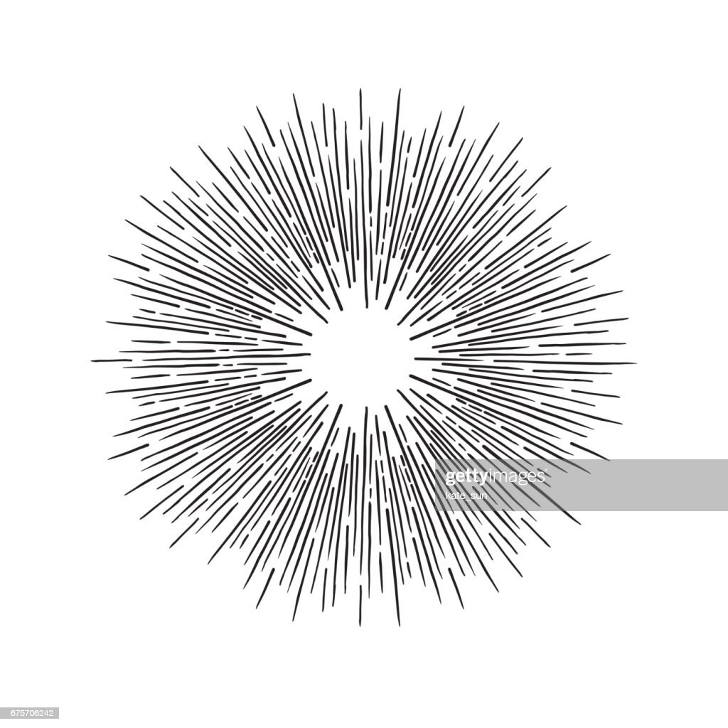 Hand Drawn vector vintage elements - sunburst (bursting rays). Perfect for invitations, greeting cards, blogs, posters and more