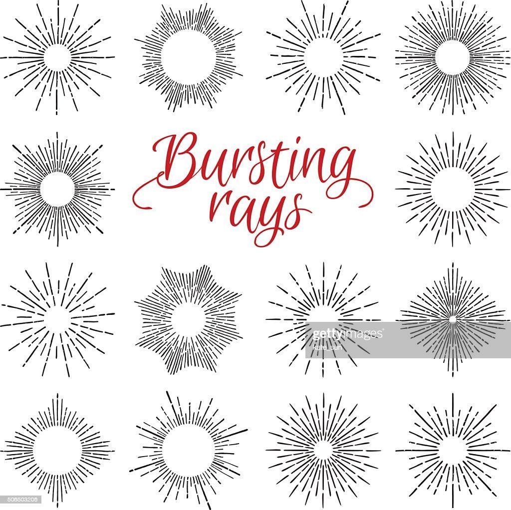 Hand Drawn vector vintage elements - sunburst (bursting rays)