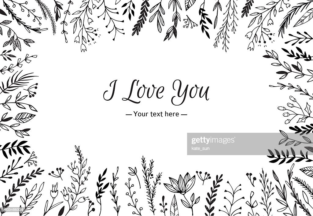 Hand Drawn vector vintage illustration - I Love You, card