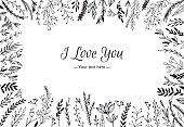 Hand Drawn vector vintage illustration - I Love You, card