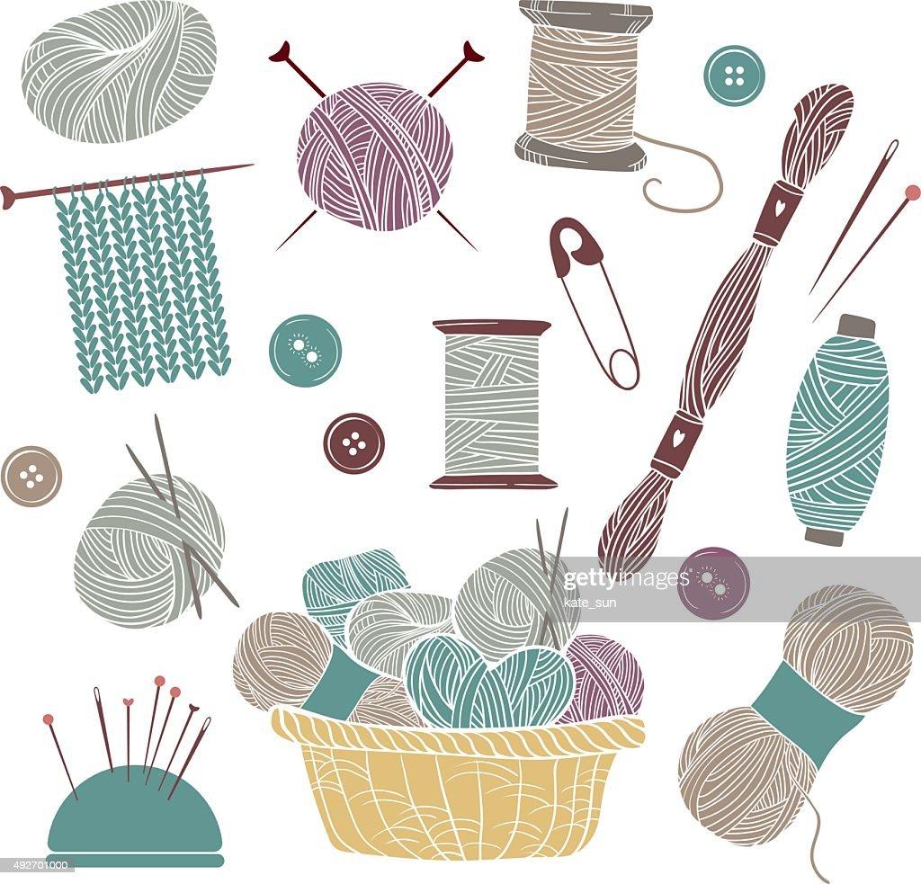 Hand drawn vector vintage illustration - Set of knitting