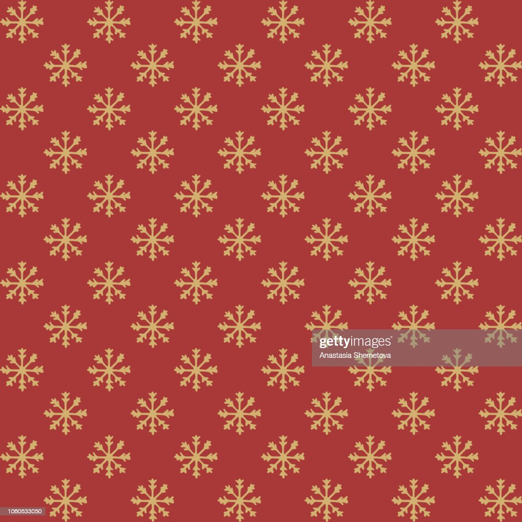 Hand drawn vector yellow snowflakes seamless pattern on the red background. New Year decoration.