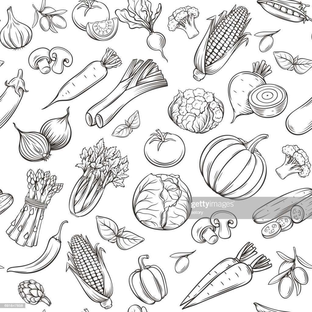 Hand drawn vegetables seamless pattern.