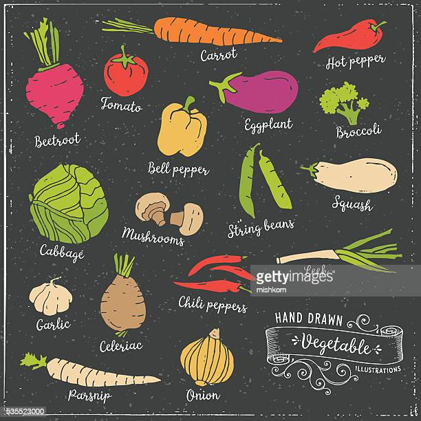 hand drawn vegetables - pepper vegetable stock illustrations