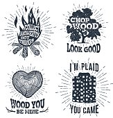 Hand drawn vintage badges set with textured bonfire, oak tree, tree trunk, and plaid shirt vector illustrations.