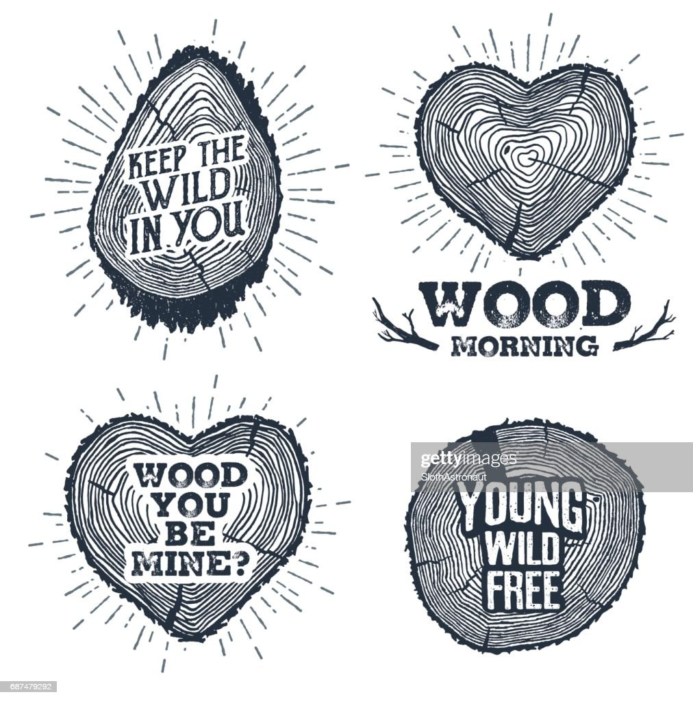 Hand drawn vintage badges set with textured tree trunks vector illustrations.