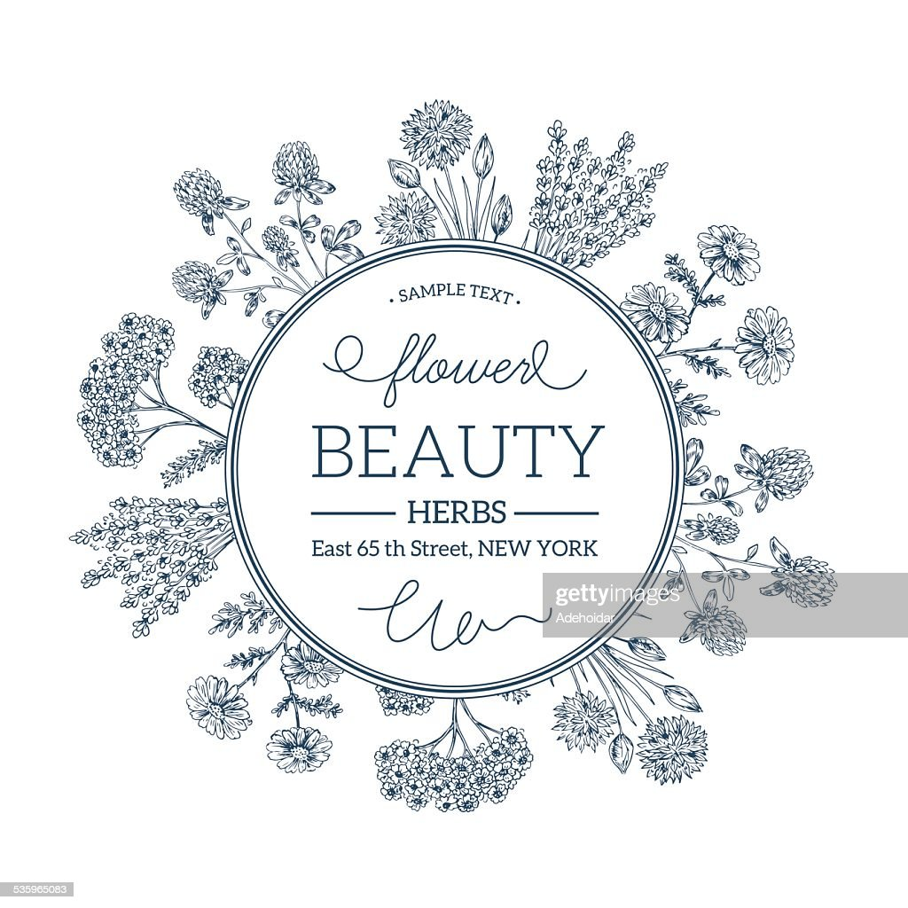 Hand Drawn Vintage Beauty Herbs Round Composition : Vector Art
