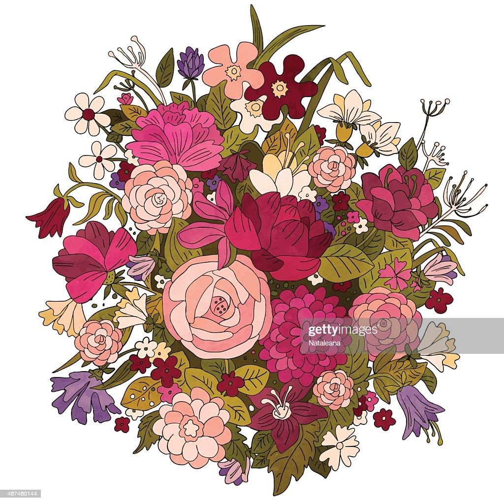 Hand drawn vintage bouquet